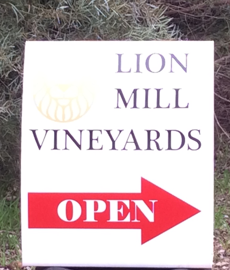 The Lion Mill Vineyards Entry is on the right